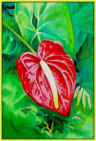 Anthurium grow wild in the Hana area. This flower comes in red, white and pink, cut, they last a couple of days.