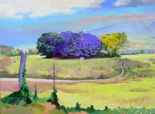 Jacaranda acrylic painting Day 4, Kula, Maui, Hawaii