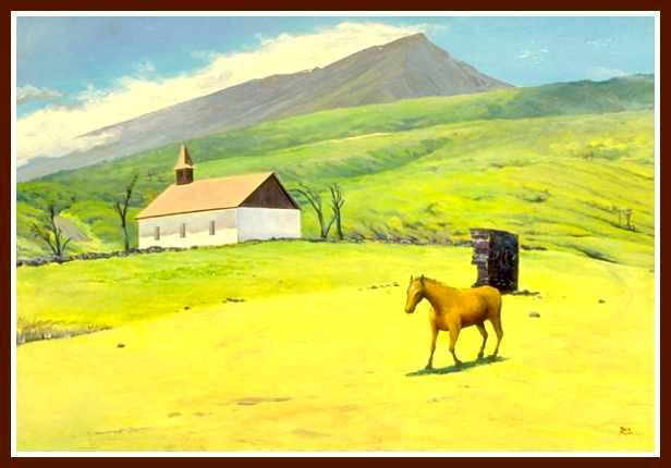 Kaupo Aloha Church with horse, Acrylic