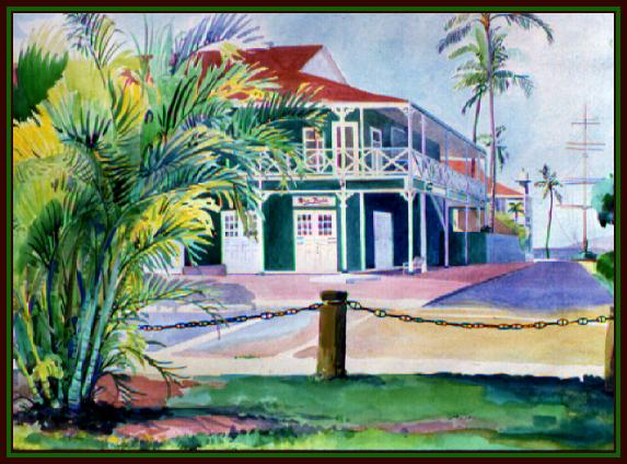 #63, Lahaina, Maui, Pioneer Inn, Water Color, 22x30